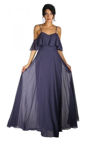 6 Ixty 8 Ight Indigo Low Sleeve Strap Long Evening Dress