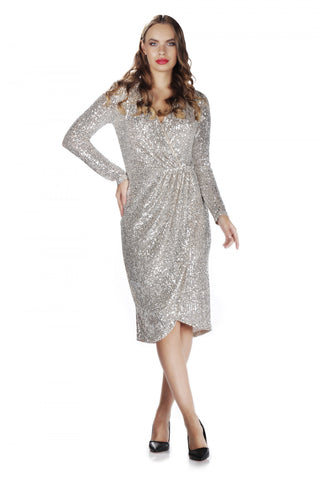 6 Ixty 8 Ight Gray Sequins Sequined Short Evening Dress