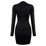 Elegant Rivet Embellished Long Sleeves Mini Party Suede Dress