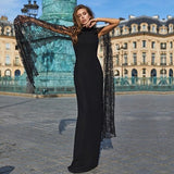 Lace Batwing Sleeve Maxi Dress