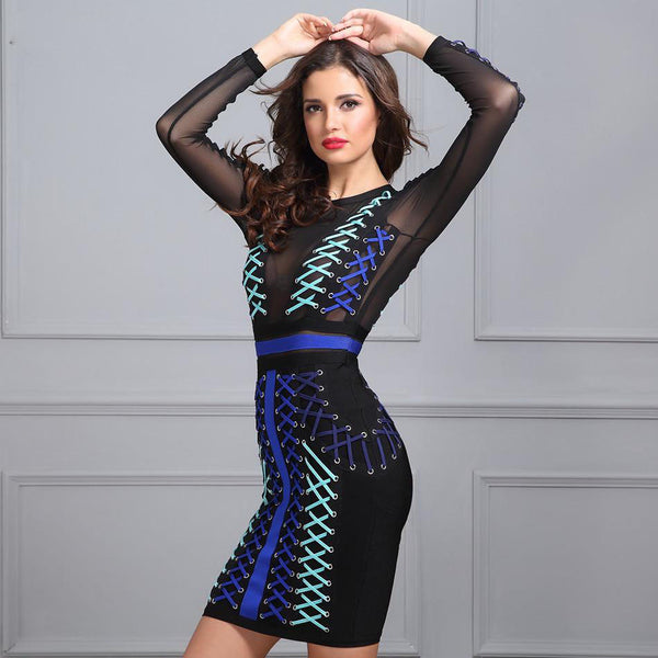 O-neck  Mesh Mini Bandage Dress front shopziy