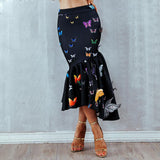 Elegant High Waist Ruffles Butterfly Casual Mid -Calf Skirt shopziy