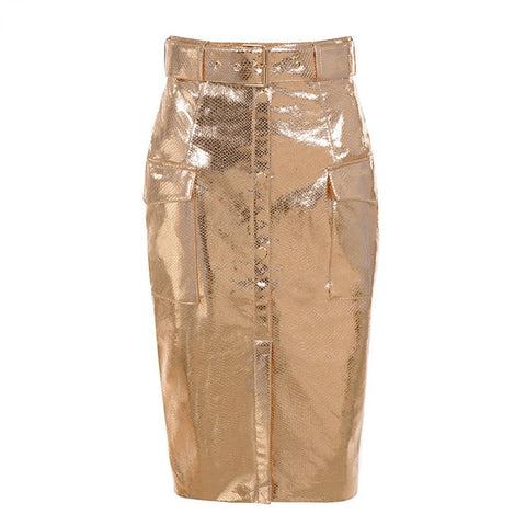 Elegant High Waist Sexy Gold Knee Length Skirt  hopziy