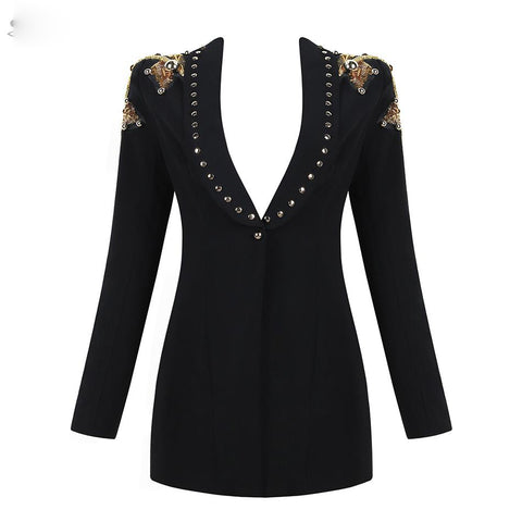 Black Deep V-Neck Sequin Bead Single Button jacket shopziy