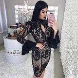 Bodycon Bandage Black Long Sleeve Dress shopziy