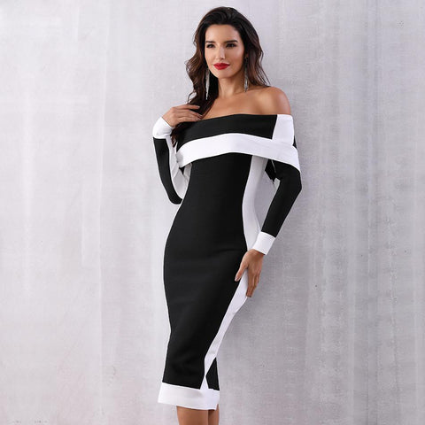New Long Sleeve Off Shoulder Dress shopziy