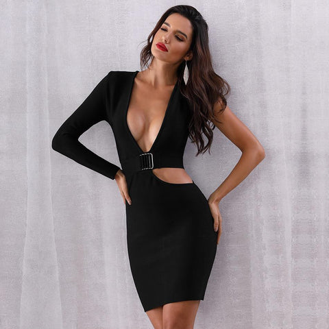 Hollow Out Deep V Bodycon  Celebrity Party Dress shopziy