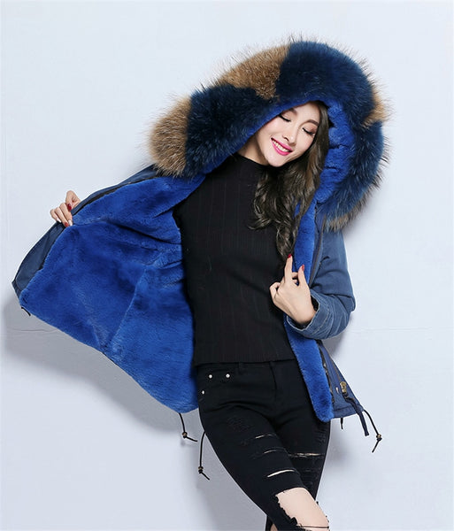 New Denim Parka With Thick Large Real Raccoon Fur Collar Detachable Fur Liner SHOPZIY
