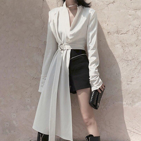 Female white asymmetric V neck long sleeve Blouse shopziy