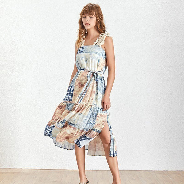 Female Print Patchwork Strap Sleeveless High Waist Dress Shopziy