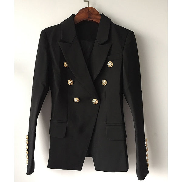Star Style Designer Blazer Women's Gold Buttons Double Breasted Blazer  shopziy