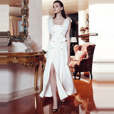 HIGH QUALITY Runway Women's Square Collar Double Breasted Slit Dress shopziy