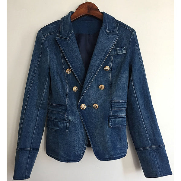 Double Breasted Denim Blazer Outer Coat shopziy