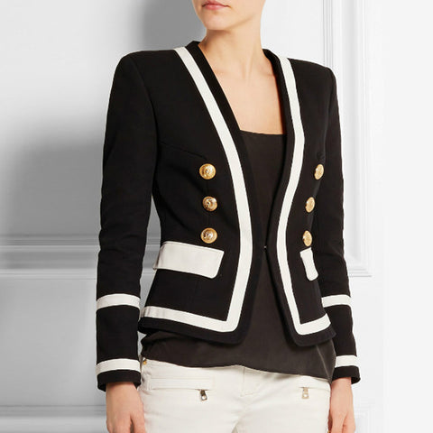 Classic Black White Color Block Metal Buttons Blazer Jacket shopziy
