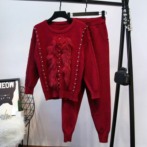 Women's Fur Embellished Sweater Pants Set shopziy