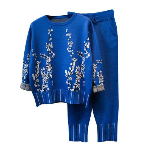 Floral Sweater Knitting Pants SET shopziy