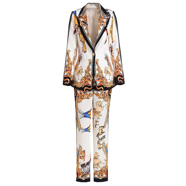 Stylish Deesigner Runway Retro Print Single Button Floral Blazer Pants Suit shopziy