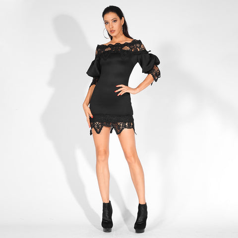 Lace Lantern Sleeves Off-The-Shoulder  Slim Fit Party Dress shopziy