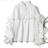 Ruffles Stand Neck Single-breasted Long Sleeve Blouse SHOPZIY