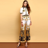 Women's Short Sleeve Beading shirt and Elegant Floral Print Long Pants 2 Pieces Set shopziy