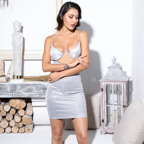 Silver Cut Out Chest Shape Styling Glitter Elastic Party Dress SHOPZIY