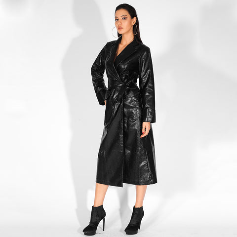 Reflective Black Lapels Loose Long Sleeves PU Material Coat (With Belt) shopziy