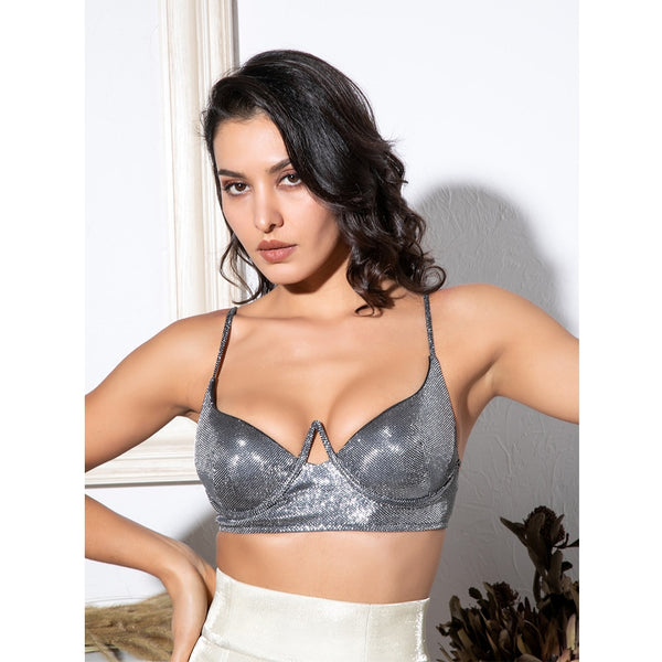 Silver Cut Out Chest Ring Shaping Top SHOPZIY
