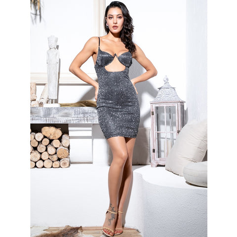Sexy Black Cut Out Chest Shape Styling Glitter Elastic Party Dress SHOPZIY