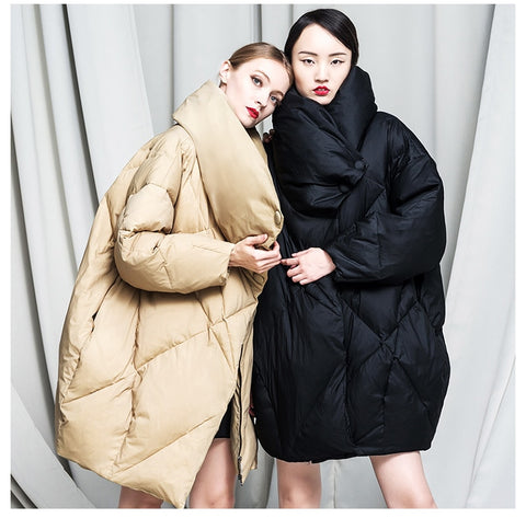 high collar design Parkas female Loose winter coatSHOPZIY