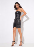 Artificial Leather Wrapped Chest Bead Decorated Dress shopziy