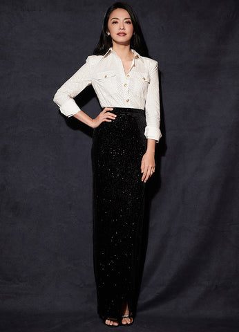 Single Breasted shirt Blouses+Bling Retro Velvet Maxi skirt set shopziy
