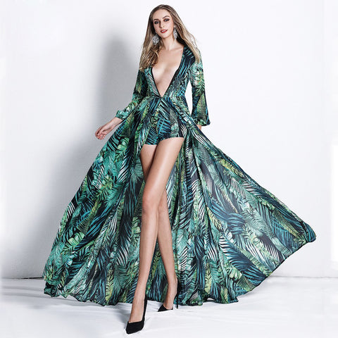Chiffon Peacock Print Deep V Rompers Long Sleeve Jumpsuit shopziy