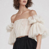 Off Shoulder Embroidery Ruffles Flare Sleeve TOP SHOPZIY