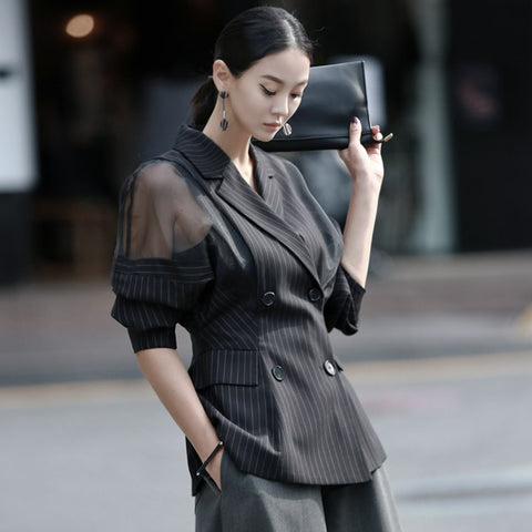 double breast buttons lantern full sleeve mesh spliced slim formal striped outwear shopziy