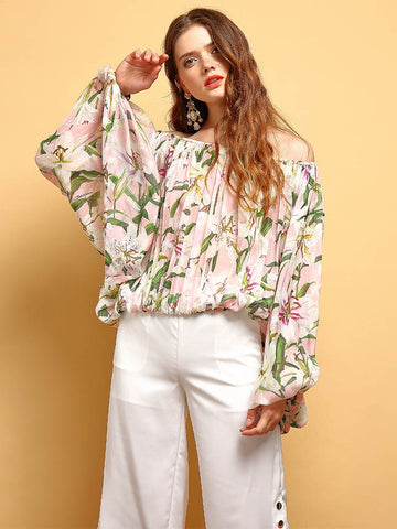 Women's lantern Sleeve Sexy Off shoulder  Pleated Floral Printed Vintage shirt shopziy