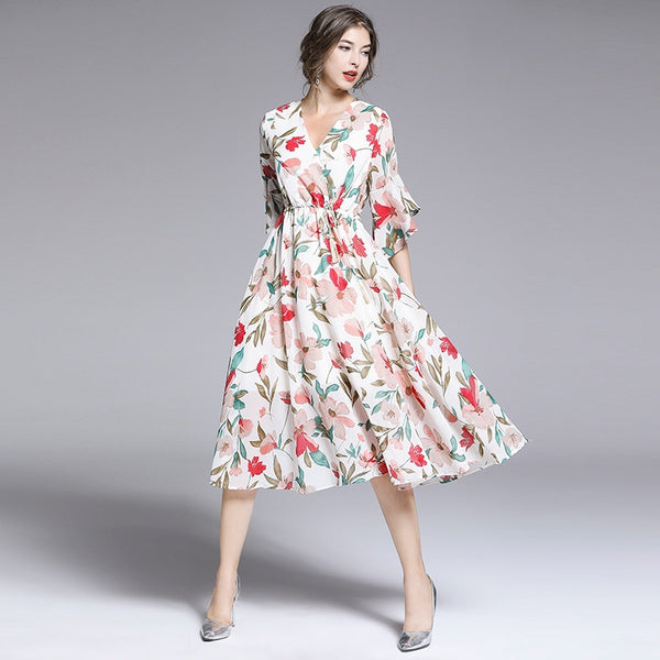 flower pattern print flare sleeve v-neck mid calf length dress SHOPZIY
