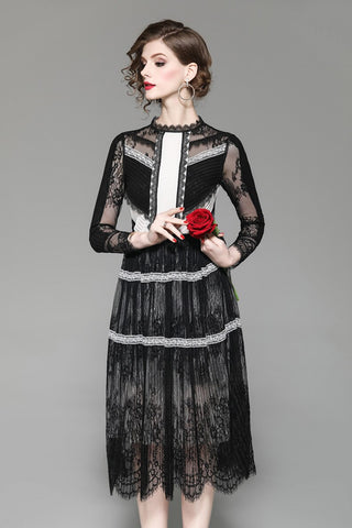 O Neck 3/4 Sleeves Embroidery Lace Patchwork Dress SHOPZIY