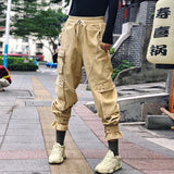 Female corduroy high waist chain eyelets elastic pants Shopziy