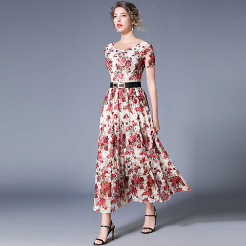 pink red flower pattern white lace dress shopziy