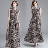 black white brown striped leopard pattern print dress SHOPZIY