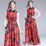 flower pattern print dress ball gown ankle length maxi designer dress shopziy