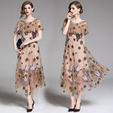 flower butterfly pattern embroidery beige dress ball gown ruffled shoulder calf length dress SHOPZIY