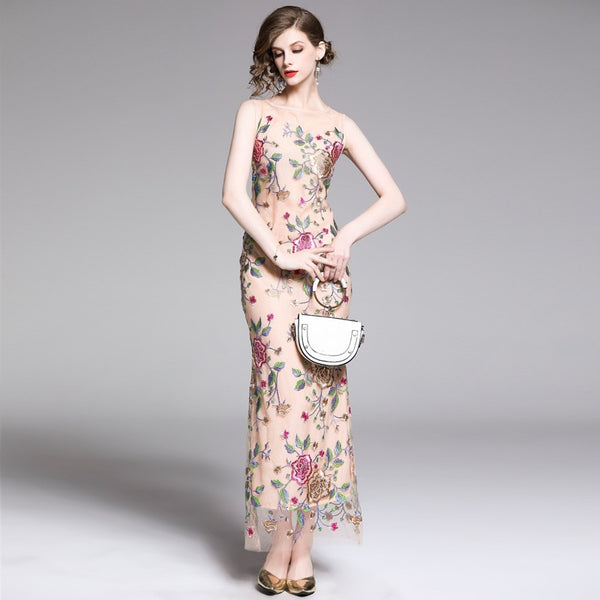flower pattern embroidery maxi dress SHOPZIY