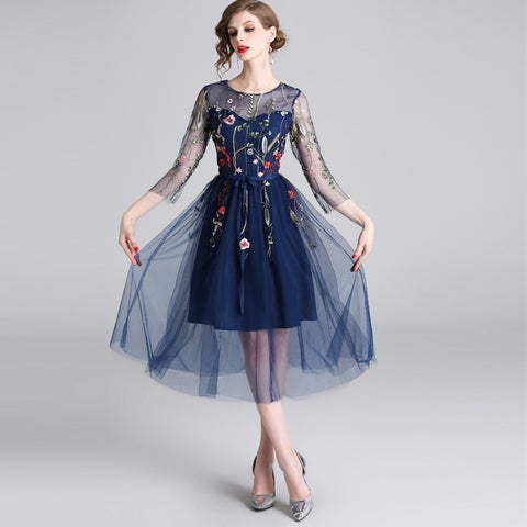 embroidery dark blue gauze dress shopziy