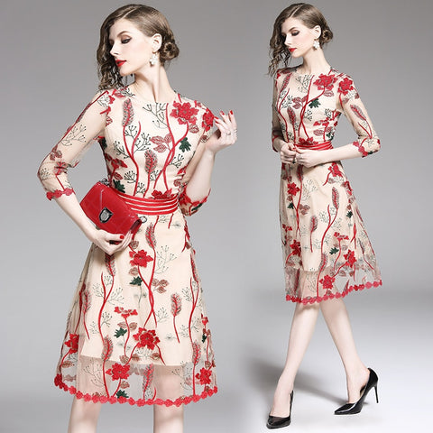 green leaf red flower pattern embroidery beige dress shopziy