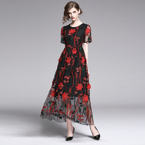 flower pattern embroidery dress SHOPZIY
