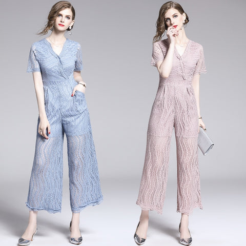 v-neck short sleeve fashion vintage casual jumpsuit shopziy