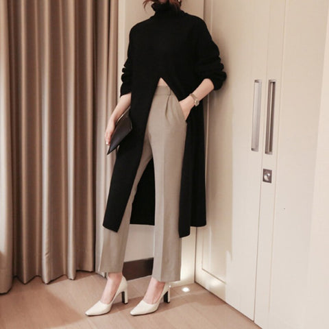 Female high neck long-sleeved sweater Shopziy