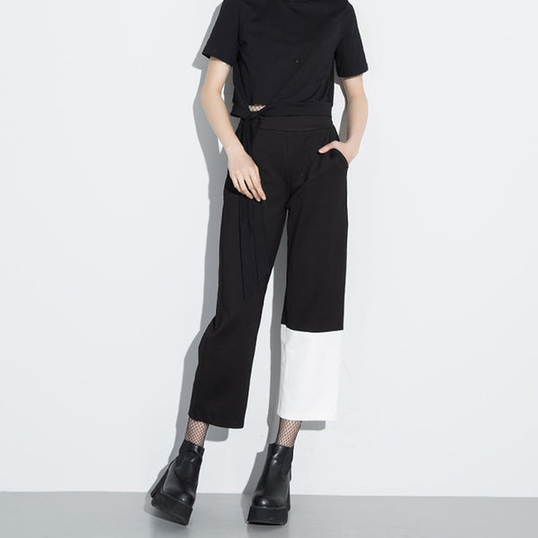 female asymmetric Patchwork high waist wide leg Pants shopziy