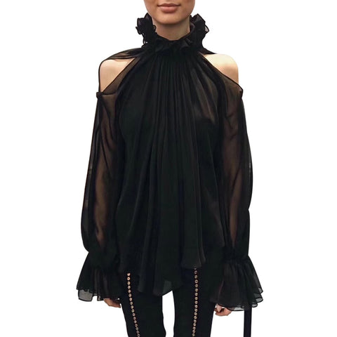 Female Chiffon bare shoulders ruffle collar lantern sleeve blouse shopziy